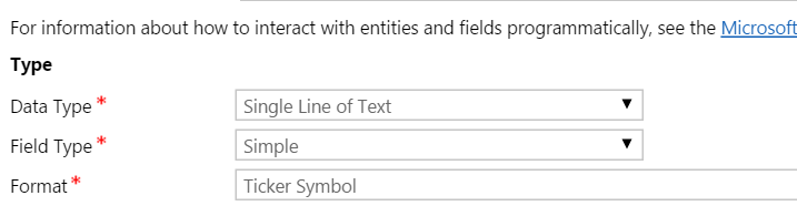 What Is Ticker Symbol Field Format In Microsoft Crm Dynamics